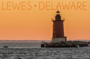 Lewes, Delaware - Cape Henlopen Lighthouse Sunset by Lantern Press