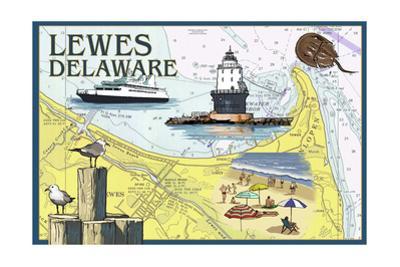 Lewes, Delaware - Nautical Chart #2 by Lantern Press