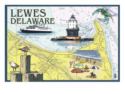 Lewes, Delaware - Nautical Chart by Lantern Press
