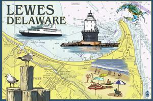 Lewes, Delaware - Nautical Chart by Lantern Press