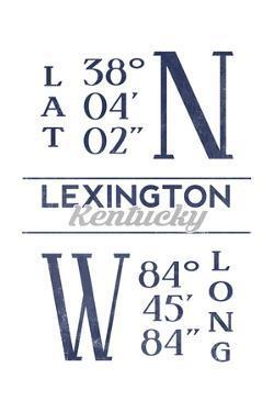 Lexington, Kentucky - Latitude and Longitude (Blue) by Lantern Press