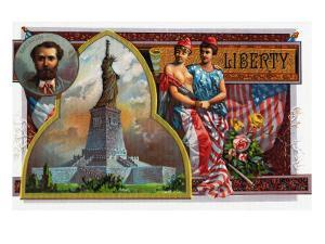 Liberty Brand Cigar Box Label, View of the Statue of Liberty by Lantern Press