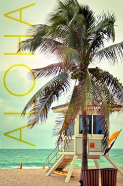 Lifeguard Shack and Palm - Aloha by Lantern Press