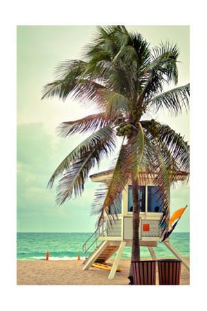 Lifeguard Shack and Palm by Lantern Press