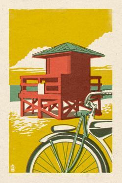 Lifeguard Tower - Woodblock by Lantern Press