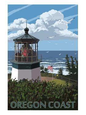 Lighthouse Scene - Oregon Coast by Lantern Press