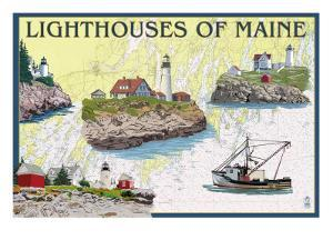 Lighthouses of Maine - Nautical Chart by Lantern Press