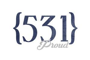Lincoln, Nebraska - 531 Area Code (Blue) by Lantern Press
