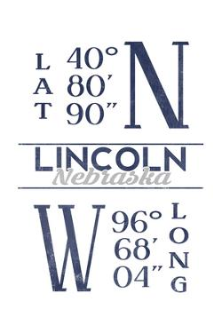 Lincoln, Nebraska - Latitude and Longitude (Blue) by Lantern Press