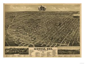 Lincoln, Nebraska - Panoramic Map by Lantern Press