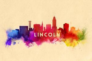Lincoln, Nebraska - Skyline Abstract by Lantern Press