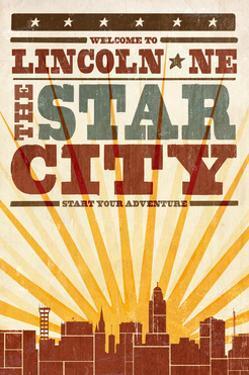 Lincoln, Nebraska - Skyline and Sunburst Screenprint Style by Lantern Press