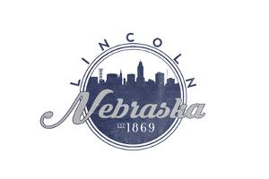Lincoln, Nebraska - Skyline Seal (Blue) by Lantern Press