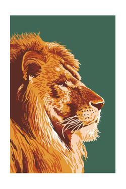Lion Up Close by Lantern Press