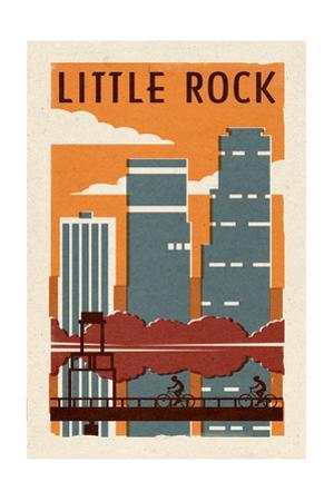 Little Rock, Arkansas - Woodblock