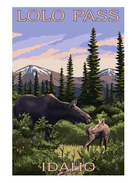 Lolo Pass, Idaho - Moose and Calf by Lantern Press