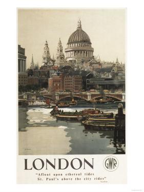 London, England - Great Western Railway St. Paul's Travel Poster by Lantern Press