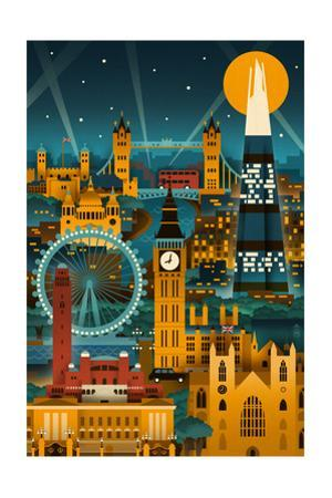 London, England - Retro Skyline (no text) by Lantern Press