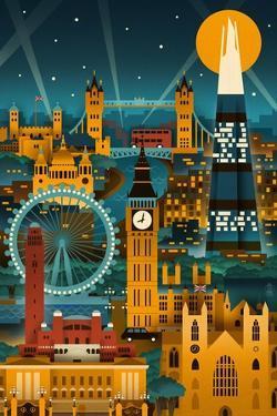 London, England - Retro Skyline (no text) by Lantern Press