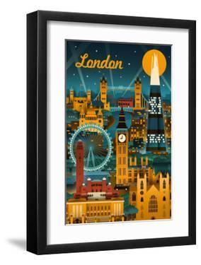 London, England - Retro Skyline by Lantern Press