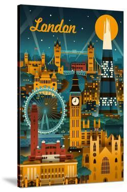 London, England - Retro Skyline by Lantern Press