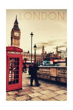 London, England - Telephone Booth and Big Ben by Lantern Press