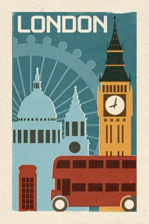 London - Woodblock by Lantern Press