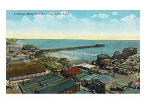 Long Beach, California - Aerial View over the Pike by Lantern Press