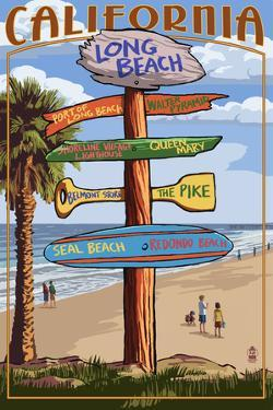 Long Beach, California - Destination Sign by Lantern Press