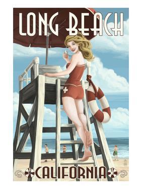 Long Beach, California - Lifeguard Pinup by Lantern Press