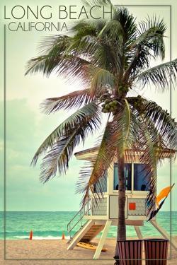 Long Beach, California - Lifeguard Shack and Palm by Lantern Press