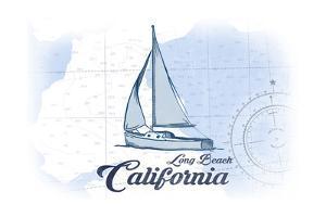 Long Beach, California - Sailboat - Blue - Coastal Icon by Lantern Press