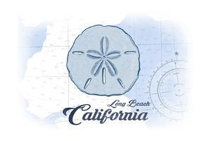 Long Beach, California - Sand Dollar - Blue - Coastal Icon by Lantern Press
