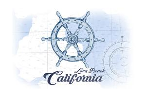 Long Beach, California - Ship Wheel - Blue - Coastal Icon by Lantern Press