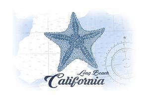 Long Beach, California - Starfish - Blue - Coastal Icon by Lantern Press