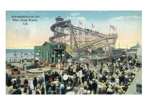 Long Beach, California - View of Amusement Rides Along the Pike by Lantern Press