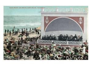 Long Beach, California - View of the Band Stand and Beach by Lantern Press