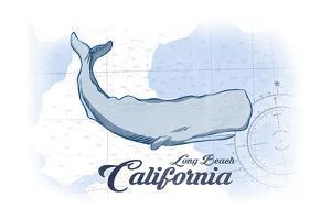 Long Beach, California - Whale - Blue - Coastal Icon by Lantern Press