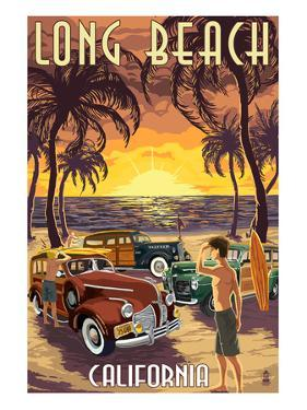 Long Beach, California - Woodies and Sunset by Lantern Press