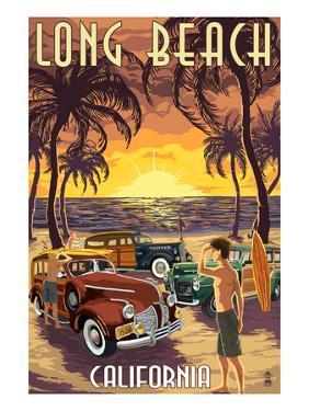 Long Beach, California - Woodies and Sunset by Lantern Press