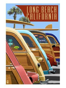 Long Beach, California - Woodies Lined Up by Lantern Press