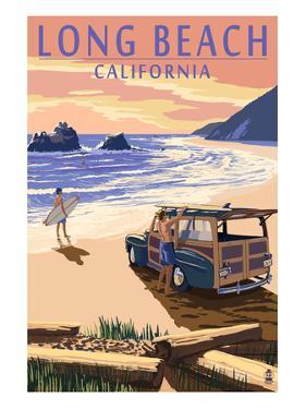 Long Beach, California - Woody on Beach by Lantern Press
