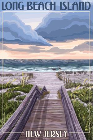 Long Beach Island, New Jersey - Beach Boardwalk Scene by Lantern Press