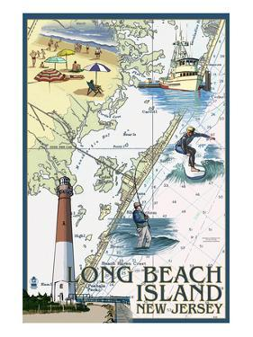 Long Beach Island, New Jersey - Nautical Chart by Lantern Press