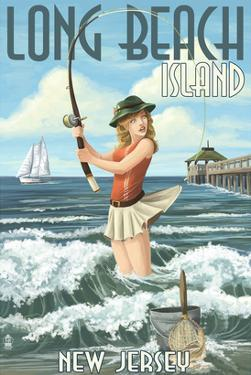 Long Beach Island, New Jersey - Pinup Girl Fishing by Lantern Press