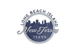 Long Beach Island, New Jersey - Skyline Seal (Blue) by Lantern Press