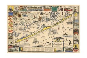 Long Beach Island, New Jersey - Vintage Map - Artwork by Lantern Press
