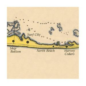 Long Beach Island, New Jersey - Vintage Map (square) 3 of 4 by Lantern Press