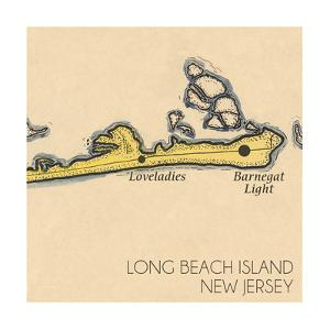 Long Beach Island, New Jersey - Vintage Map (square) 4 of 4 by Lantern Press