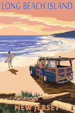Long Beach Island, New Jersey - Woody on Beach by Lantern Press